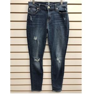 7 for all mankind distressed skinny jeans 25
